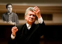اجرای مشترک رهبر ارکستر سمفونیک باکو  و فرزند رسول خادم در کشور آذربایجان + عکس
