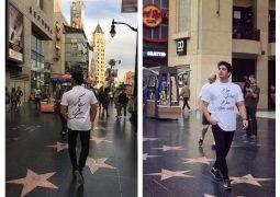 وطن پرستی خواننده مطرح در خیابانهای لس آنجلس + عکس